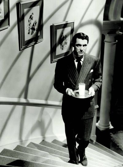 "Cary Grant in Suspicion ~ OK the ending changed, and Cary Grant's character is nowhere near as awful as in the book, but he is so amazing in this film. I just sigh all the way through. You can see why Joan Fontaine's wonderful ""monkey face"" character would rather die than leave him."