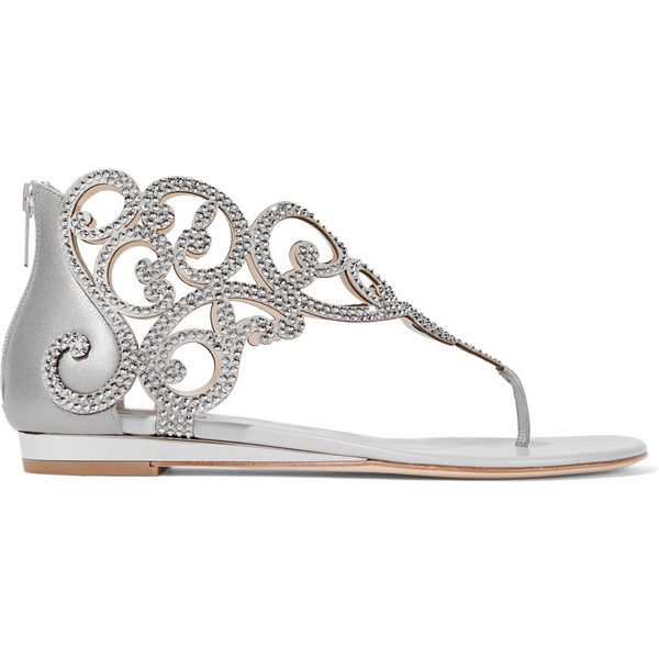 René Caovilla Moonlight crystal-embellished metallic leather wedge... ($658) ❤ liked on Polyvore featuring shoes, sandals, silver, wedge sandals, metallic wedge sandals, wedge shoes, white wedge heel sandals and white wedge sandals