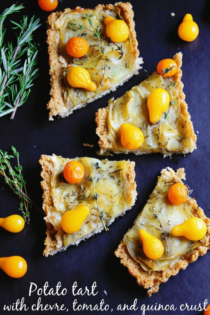Potato tart with chevre, tomato, and quinoa crust! Delicious gluten free, vegetarian tart with savory goat cheese, thyme, and a crispy, healthy, quinoa crust! YUM! #vegetarian