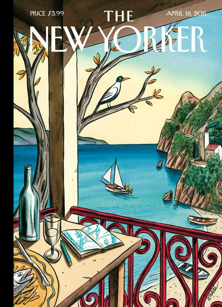 """Jacques de Loustal : """"Drawing While Waiting"""", Cover art for The New Yorker, April 18, 2011 // © Jacques de Loustal"""