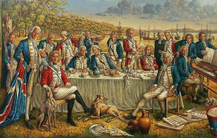 "First Fleet First Fleet Officials celebrating King George III's Birthday in Sydney Cove 1788"", 1994  Oil on belgian linen, 860 mm x 1330 mm    Illustration for a book (unpublished)"