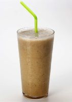 Chocolate Elvis hemp protein smoothie with peanut butter and banana (and chocolate!)