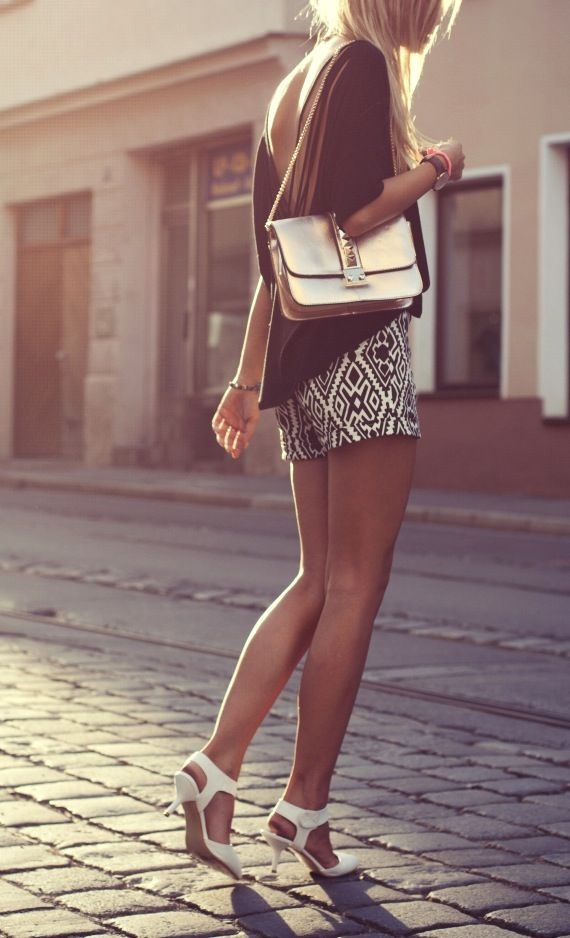 Aztec print shorts. #style #fashion #clothing