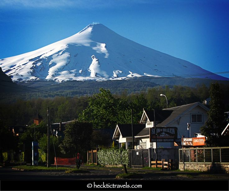 Pucon, Chile. Beautiful and quaint city in the south whose main attraction is the volcano seen in the photo.
