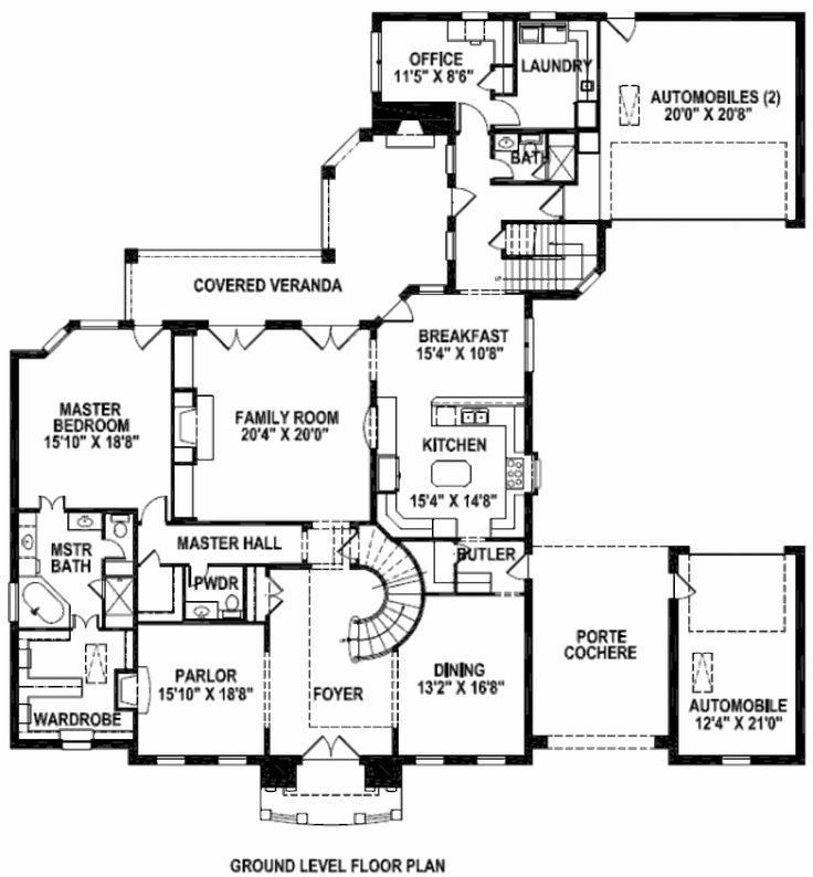 Main floor plan porte cochere home pinterest for Porte cochere house plans
