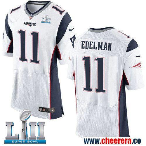 Nike Patriots 11 Julian Edelman White 2018 Super Bowl LII Elite Jersey 8b5bbf51b