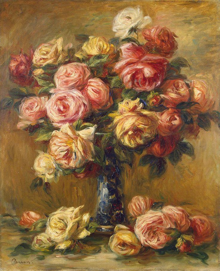 Roses in a Vase  Artist: Pierre-Auguste Renoir  Location: Hermitage Museum  Medium: Oil Painting on Canvas