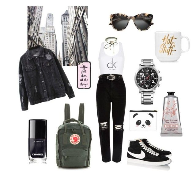 """""""Citygirl"""" by gloriatovizi on Polyvore featuring Calvin Klein, River Island, NIKE, Accessorize, Fjällräven, Tommy Hilfiger, Chanel and Casetify"""
