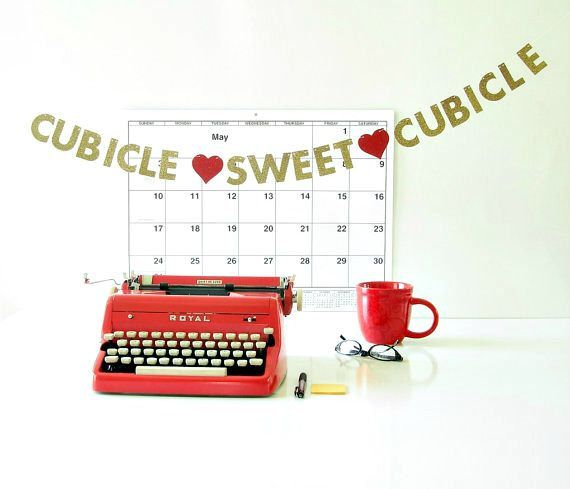 "MINI Cubicle Sweet Cubicle  Banner, Office Desk Accessory, 1.5"" Glitter Letter Garland, Coworker Gift, New Job Gift, Cubicle Decoration by SisBoomBaa on Etsy https://www.etsy.com/listing/232226313/mini-cubicle-sweet-cubicle-banner-office"