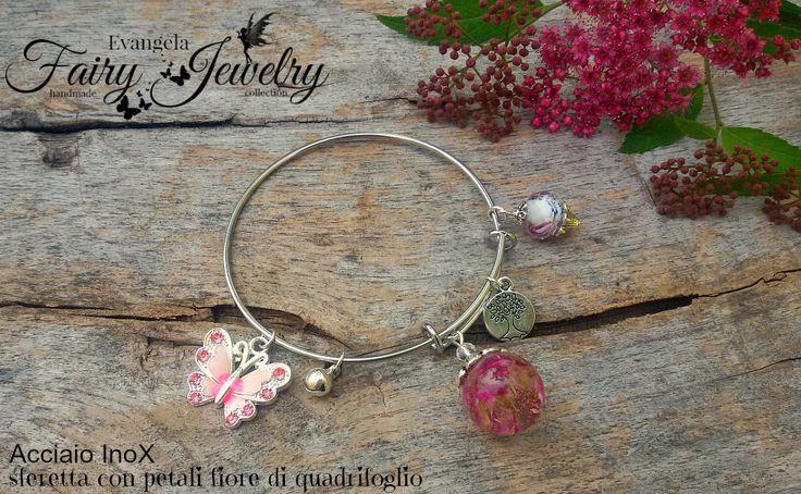 Bracciale sfera petali fiore quadrifoglio acciaio inossidabile gioielli botanici , by Evangela Fairy Jewelry, 15,00 € su misshobby.com