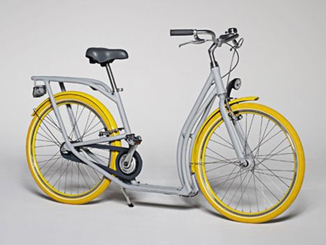 A bicycle that is designed to sit up comfortably and can be walked while sitting like a scooter :Pibal by Philippe Starck and Peugeot