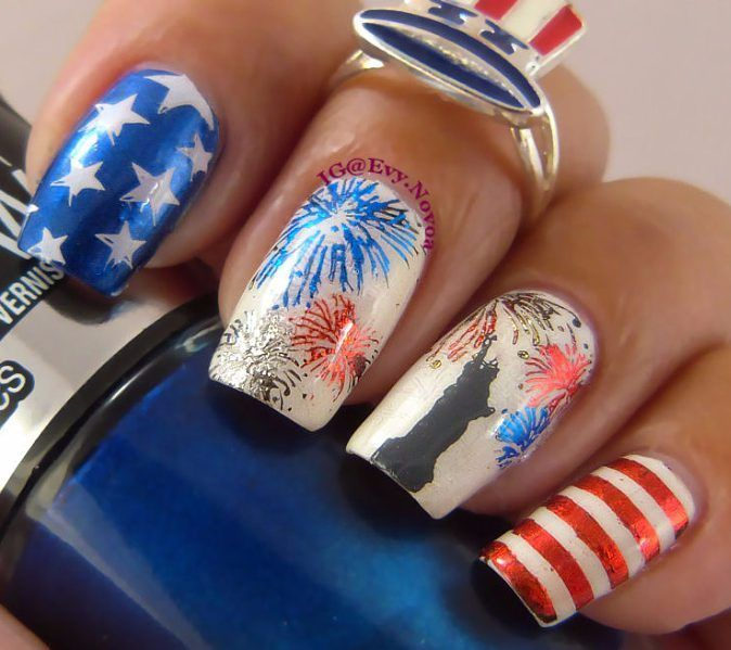 """81 Likes, 7 Comments - Evelyn (@evy.novoa) on Instagram: """"Independece Day is close... here is my design using this awesome  plate from @uberchicbeauty 4th of july…"""""""