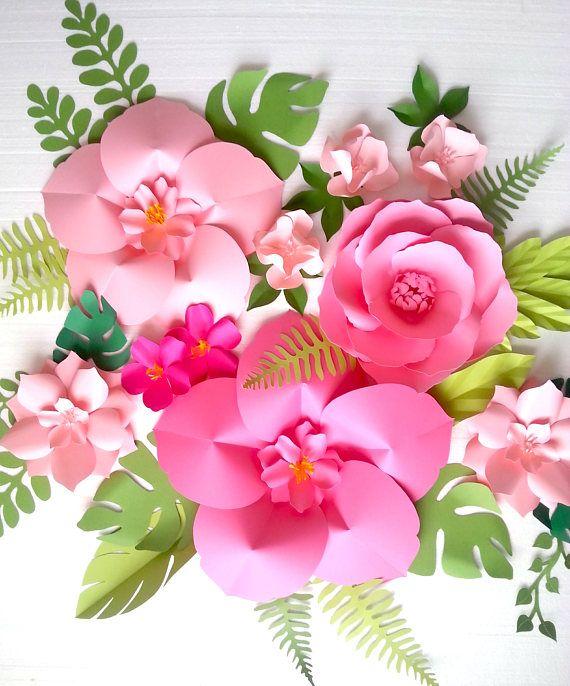 Papel extra grande flor fondo - guardería - sala - decoración eventos - onda Tropical - niña dormitorio - orden de encargo