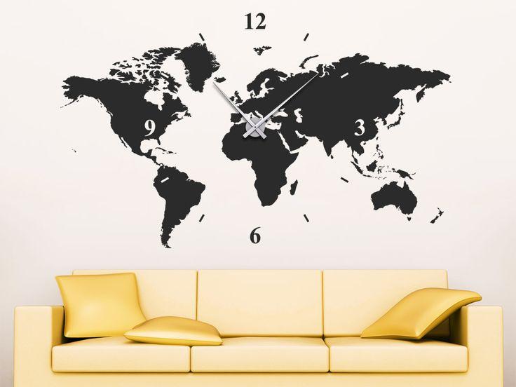 Trend Wandtattoo Uhr Weltkarte