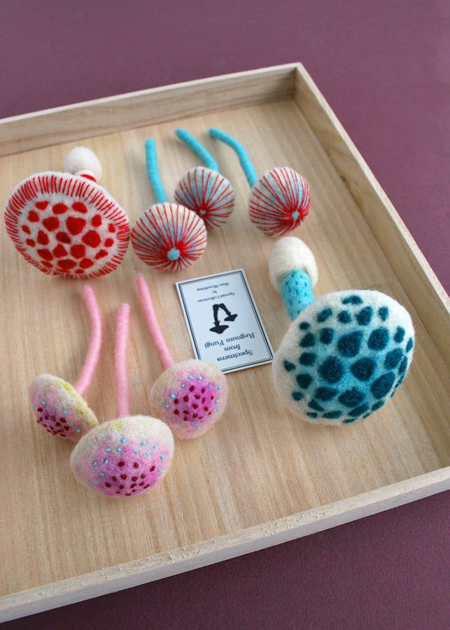 Needle-felted mushroom props for a commissioned art work.