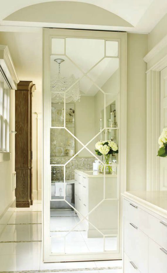 Mirrored fret door to closet bathroom pinterest for Sliding mirror doors