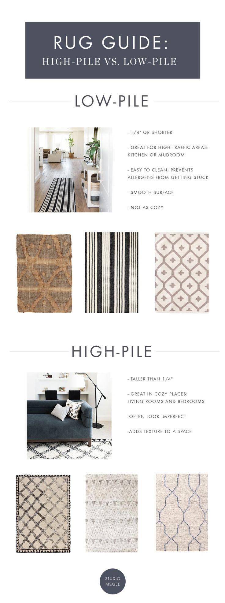 See the differences between high and low-pile rugs, and which is best for  you! - Studio McGee Blog