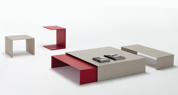 ZEROCENTO | Side tables design in different shapes and sizes | Simple design and minimal for the collection tables Zerocento, made with a single material, characterized by the continuity between top and the support structure. The series of tables, developed in different shapes and sizes, you can overlay and pull, creating original geometric effects. The structure is made of aluminum corrugated matt lacquered in white, hemp, red, or veneered oak termocotto.