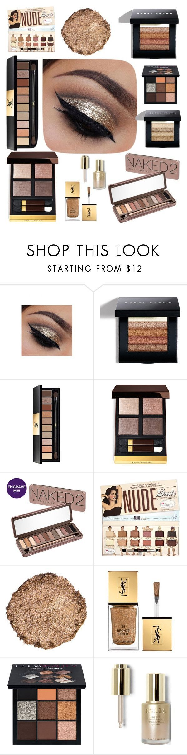 Get The Look: Glitter Smokey Eye by rosegoldpearls on Polyvore featuring beauty products by Urban Decay, Tom Ford, Yves Saint Laurent, Bobbi Brown Cosmetics, Illamasqua, Stila and Huda Beauty