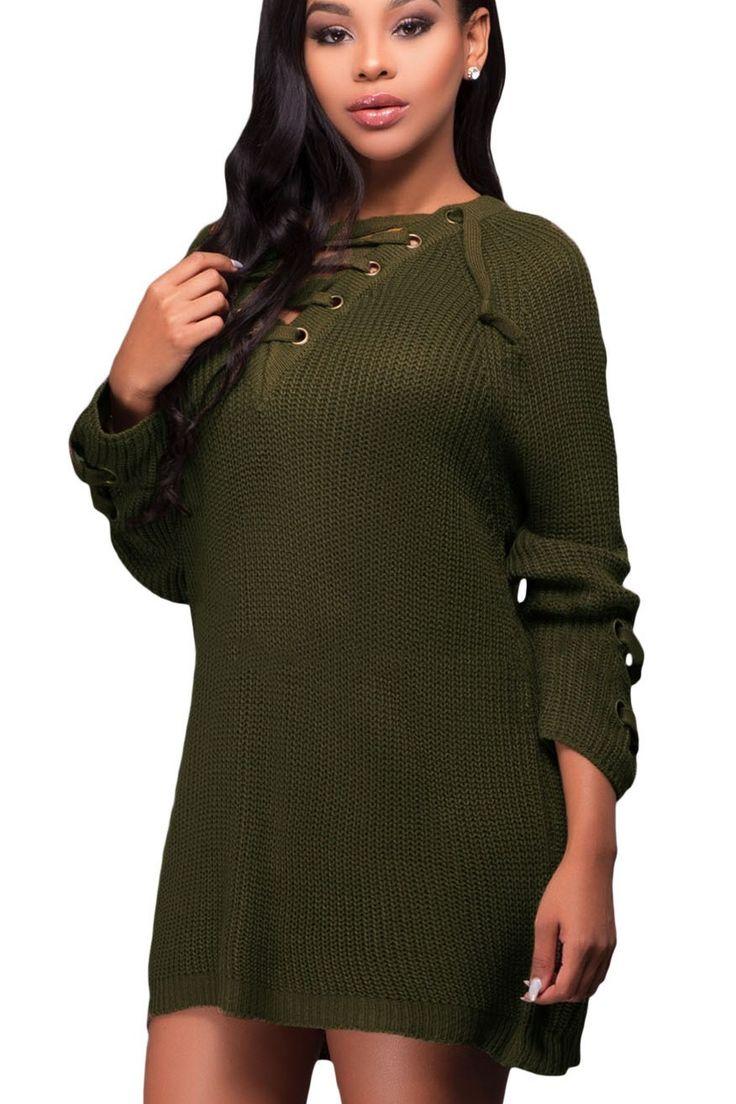 Prix: €19.99 Pull Longue Femme Hiver Vert Tricot Crisscross Lace up Pas Cher www.modebuy.com @Modebuy #Modebuy #Vert #gros #me #mode