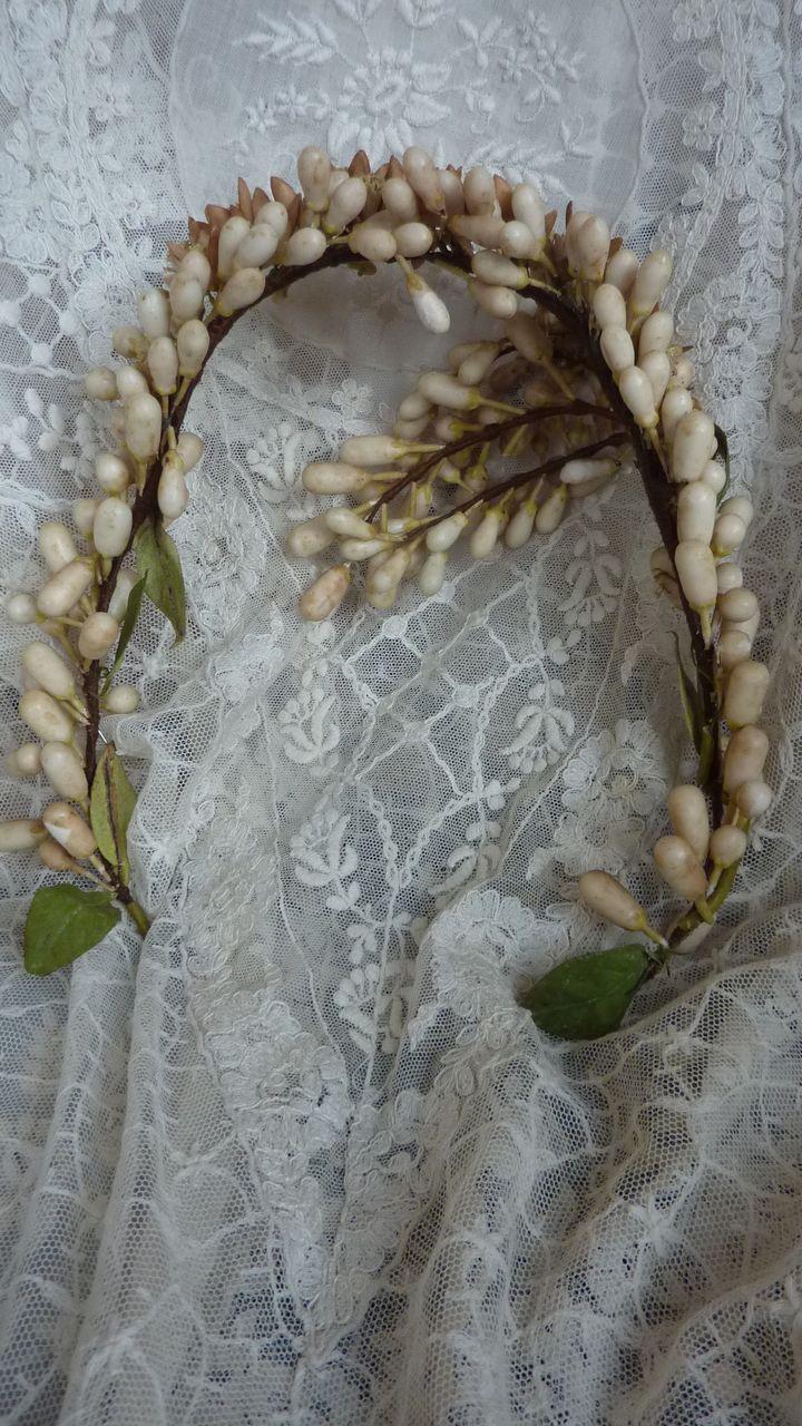 Delicious French bridal wax wedding crown tiara orange blossom