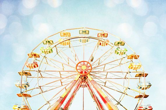 "Nursery Photography - ferris wheel circus carnival photo pastel blue yellow red kids room light fun - 10x15, 8x12 Photograph, ""Good Times"""