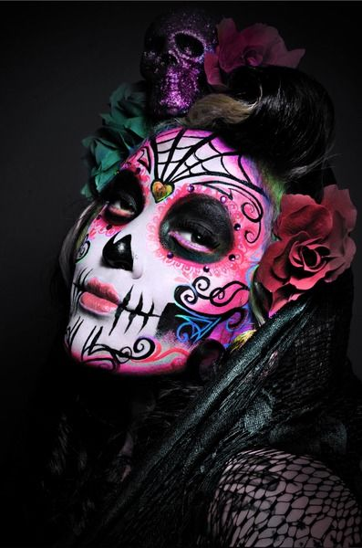Dia de Los Muertos Sugar Skull makeup accented with gems. | See more about Sugar Skull, Skull and Sugar Skull Makeup.