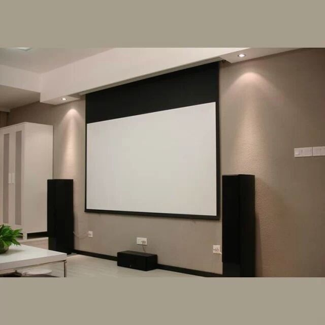 Hidden In Ceiling Electric Projection Screen With Remote Control/motorized Reccessed In Ceiling Projector Screen For Home Cinema,Ceiling Hanging Screen,Electric Screen,Motorized Ceiling Screen
