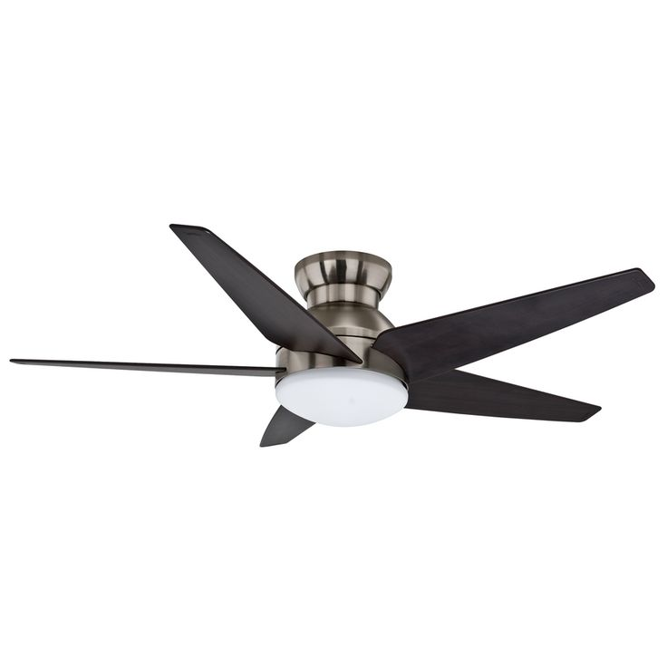 Casablanca Isotope 52 In Brushed Nickel Flush Mount Indoor Ceiling Fan With Light Kit And Remote 59022