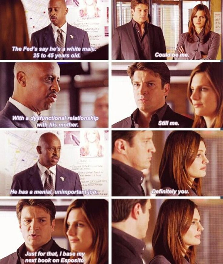 This is one of the reasons I love this show.....a lot of humorous bantering between Kate  & Castle