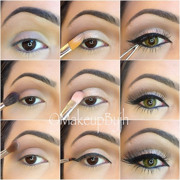 "Pictutorial  enjoy !! 1-Apply UD potion primer 2-Apply Mac "" haux"" on crease. 3-Apply Mac ""orb"" on brow bone. 4-Apply Mac paint pot ""bare study"" on lid. 5-Apply makeup forever ""diamond beige 306"" on lid. 6-Apply Mac blacktrack gel eyeliner and color your waterline. 7-Apply Lashes ""red cherry # 217"""