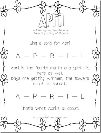 Growing Kinders: April Calendar Song Must download all months!