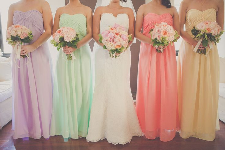 Wedding Ideas, pastel wedding color, pastel bridesmaids, blush wedding, light blue wedding colors, light pink wedding colors