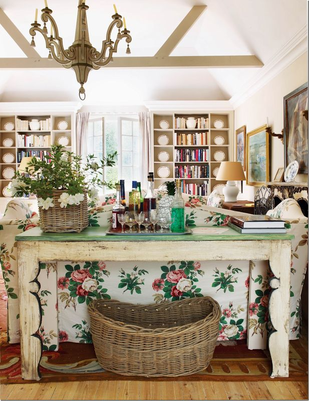 From Cote de Texas;  I love this room and the sofa table.  The table suits my taste for folky rusticism.
