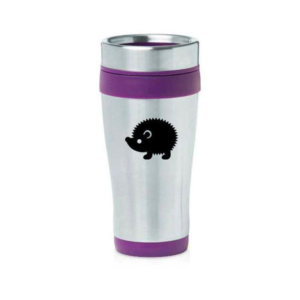 16 Oz Stainless Steel Insulated Travel Mug Hedgehog Purple Blue Black... (20 CAD) ❤ liked on Polyvore featuring home, kitchen & dining, drinkware, black, drink & barware, home & living, mugs, double wall stainless steel mug, black mug and double wall travel mug
