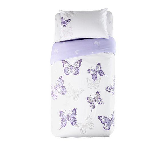 Buy HOME Butterfly Plum Bedding Set Bundle - Single at Argos.co.uk, visit Argos.co.uk to shop online for Duvet cover sets, Bedding, Home and garden
