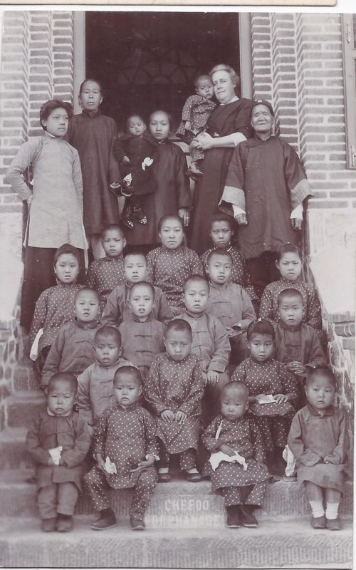China 1900-10s photographic thick card of Chefoo Orphanage unused