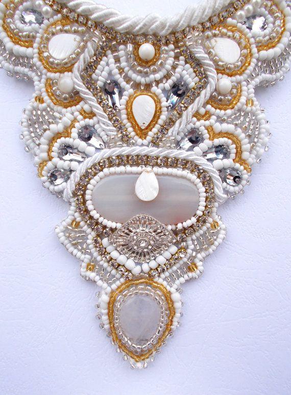 White bridal bib necklace by AniDandelion by #ethnic #bohimian #hippie #jewelry #Bridgeport #Durham #SanJose #newyork #washington #boston #hartford