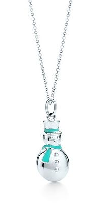Ring in the Christmas season with Tiffany's Snowman charm finished in Tiffany's signature blue enamel. It comes in sterling silver on a chain. Charm and chain sold separately.