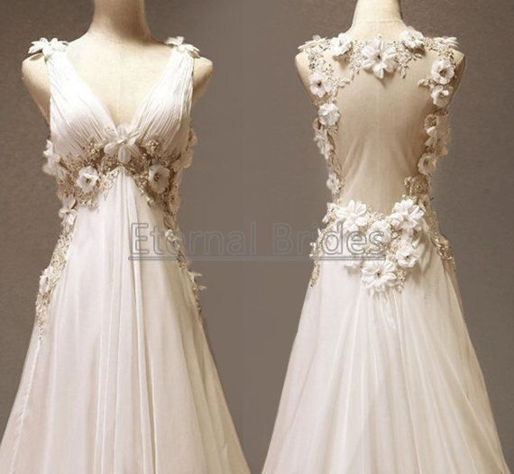 Vneckline Wide Straps with Flowers Beaded Sheer by EternalBrides, $229.00