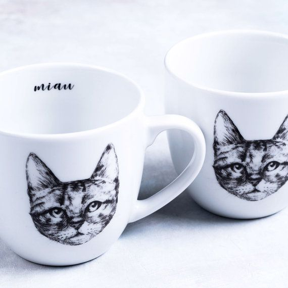 Porcelain mug with a hand drawn cat by GiftWorkshopWarsaw on Etsy