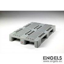Kunststof Euro H1 pallet 1200x800x160 mm, GS1 keur, 3 sleden, grijs