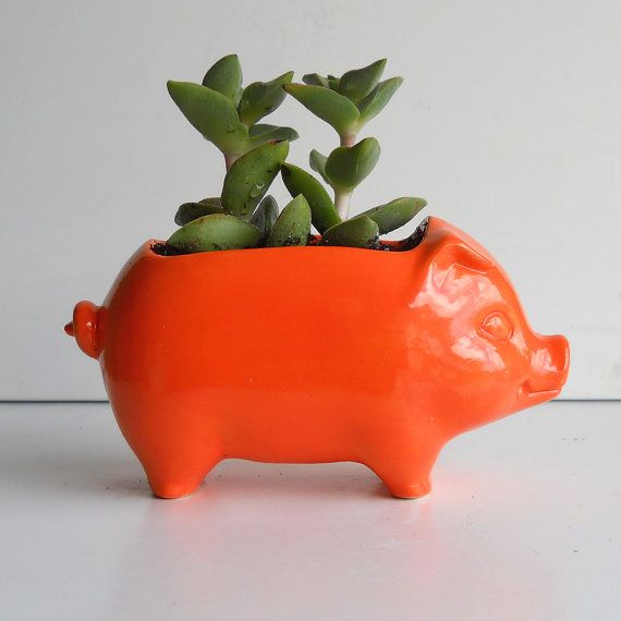 Ceramic 60s Mini Pig Planter