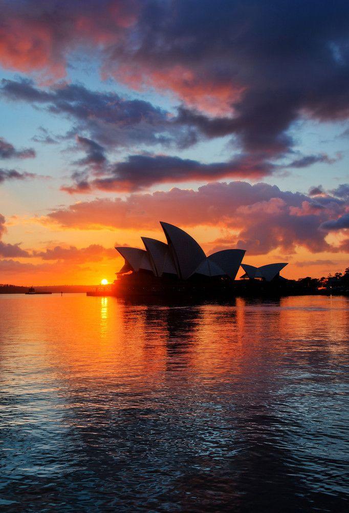 Casa da Ópera de Sydney, ao pôr-do-sol. Austrália. Fotografia: Trey Ratcliff.