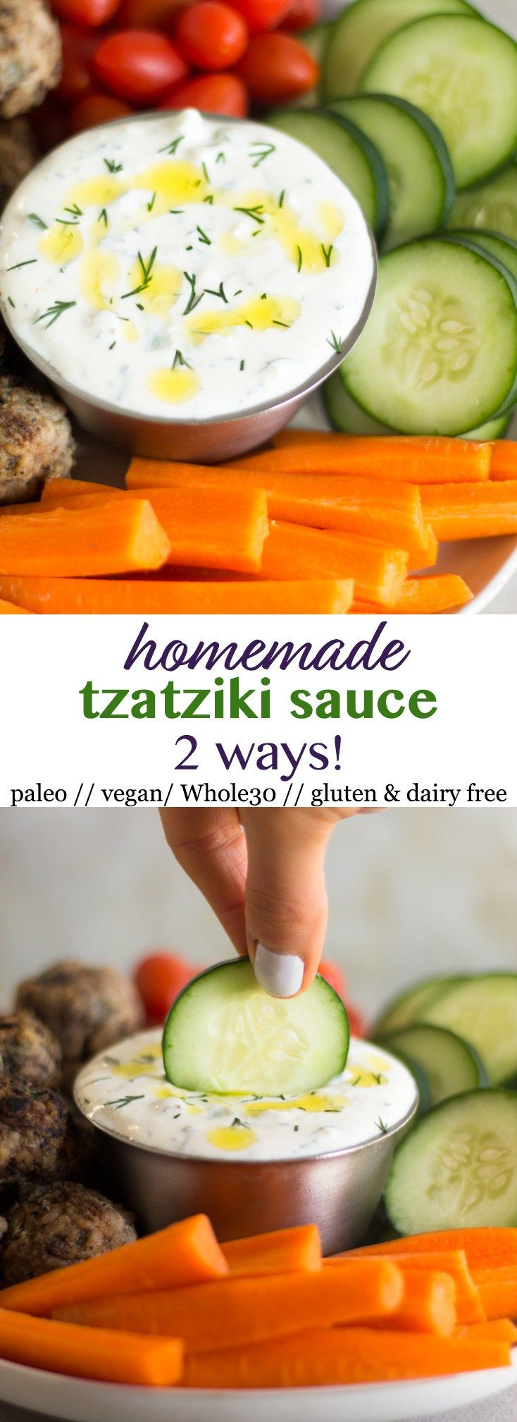 How to Make Tzatziki Sauce 2 Ways! This healthy and easytzatziki sauce will become a staple in your house. Only 8 ingredients and it can be made using Greek yogurt or dairy free so it\'s paleo, vegan, gluten free, and Whole30 approved. Great for meal prep too! - Eat the Gains #dairyfree #glutenfree #paleo #whole30 #vegan
