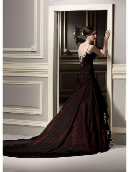 gothic wedding dresses | Home > Wedding > Red Lace Applique Gothic Wedding Dress