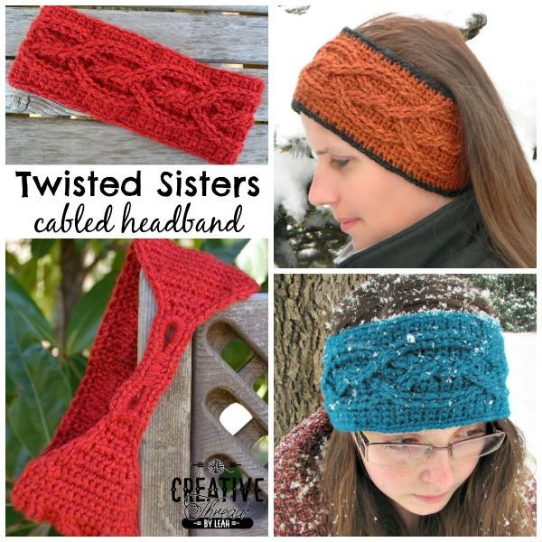 free crochet headband pattern Twisted Sisters Cabled Headband by #creativethreadsbyleah exclusively for #cre8tioncrochet