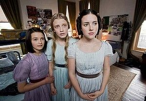 Lady cadavers ... (from left) Alex Coppinger, Poppy Lee Friar and Melissa Howard are spectre sisters in Dead Gorgeous.
