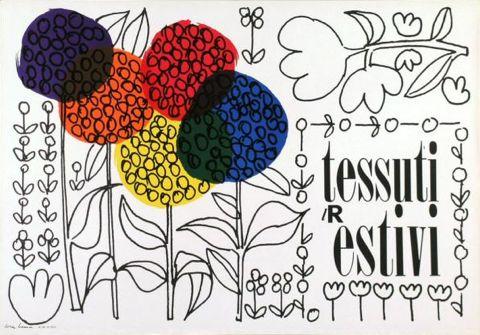 By Lora Lamm (born 1928), 1956, Tessuti estivi, la Rinascente. (I)