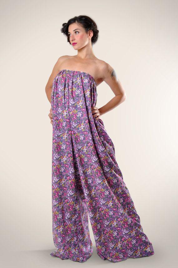 Strapless jumpsuit, Oversized pants jumpsuit, pleated jumpsuit, floral jumpsuit